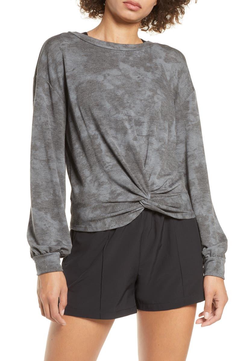 ZELLA Tie Dye Twist Front Pullover, Main, color, 001