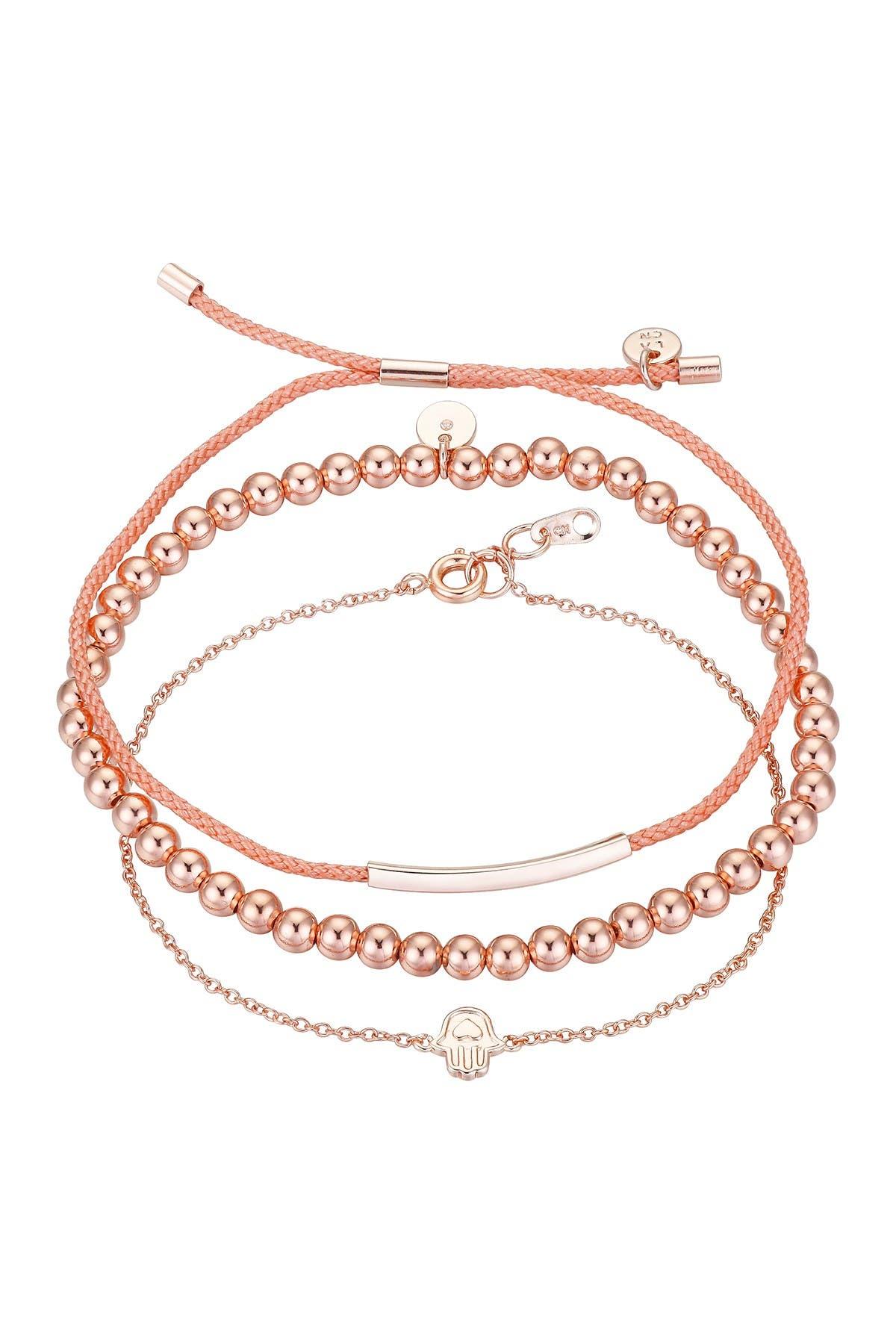 Image of LA Rocks Rose Gold Plated Beaded, Bolo Cord, & Hamsa Charm Bracelet Set