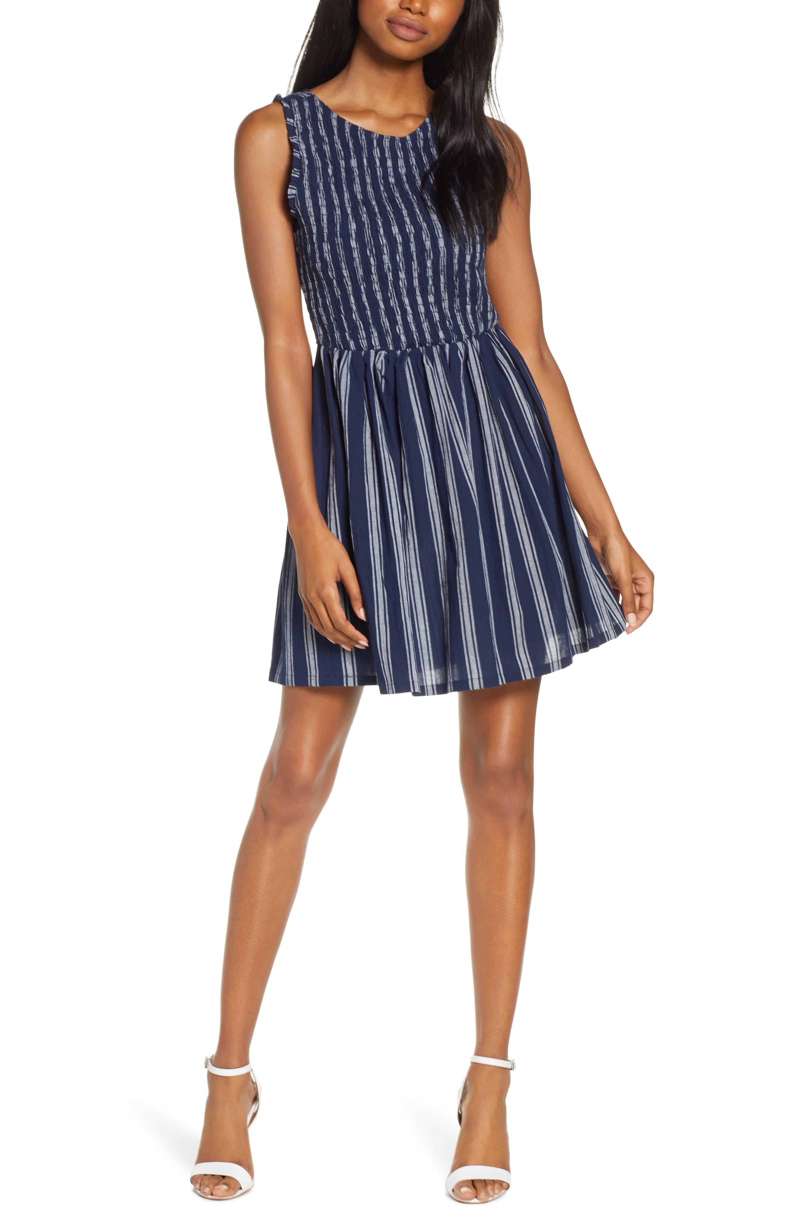 Bb Dakota You Can Jive Stripe Smocked Dress, Blue