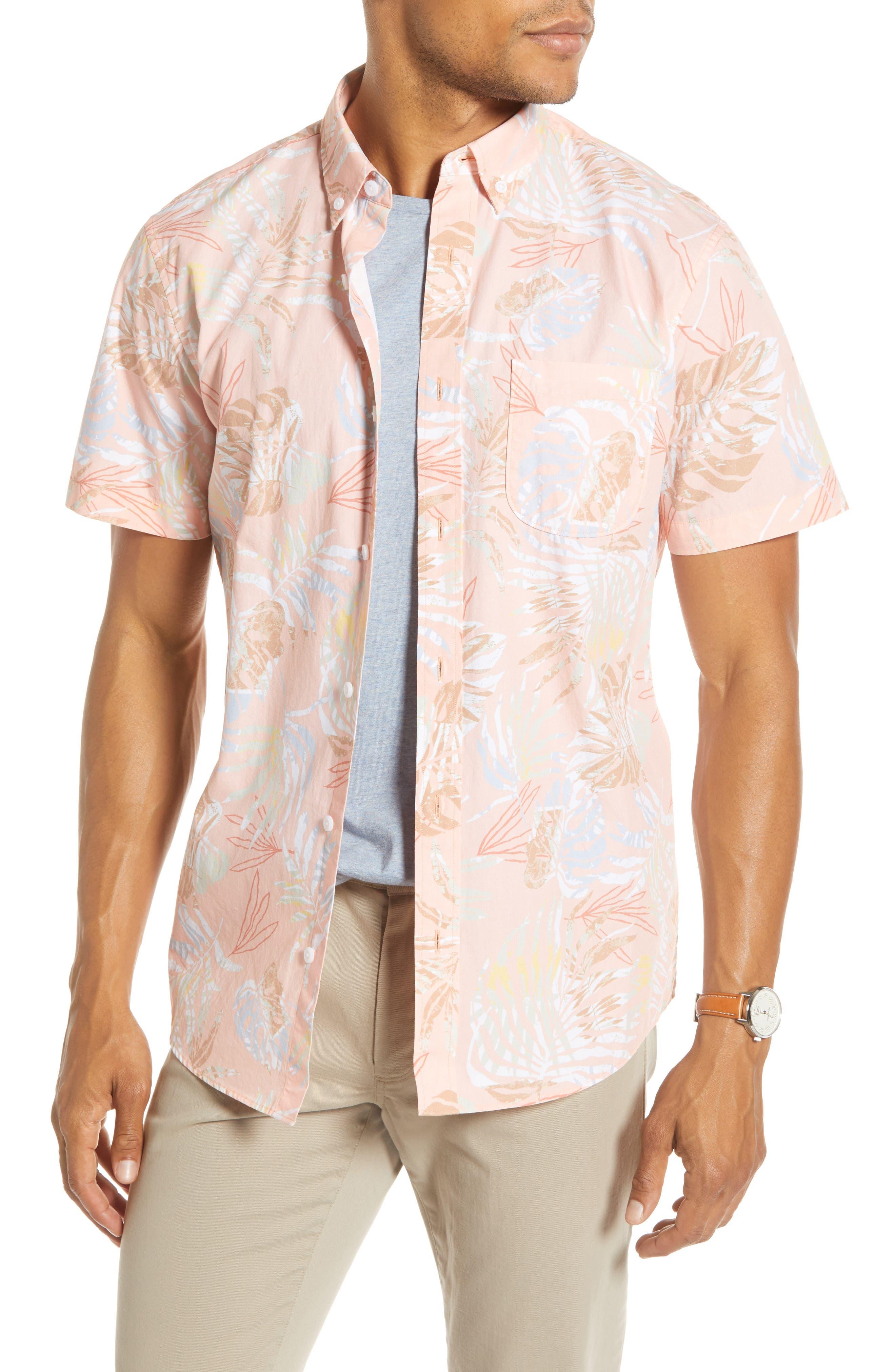 1901 Trim Fit Palm Print Short Sleeve Button-Down Sport Shirt, Coral