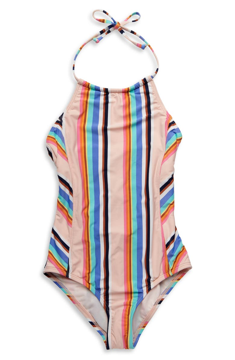 HOBIE Stripe Out Halter One-Piece Swimsuit, Main, color, MULTI
