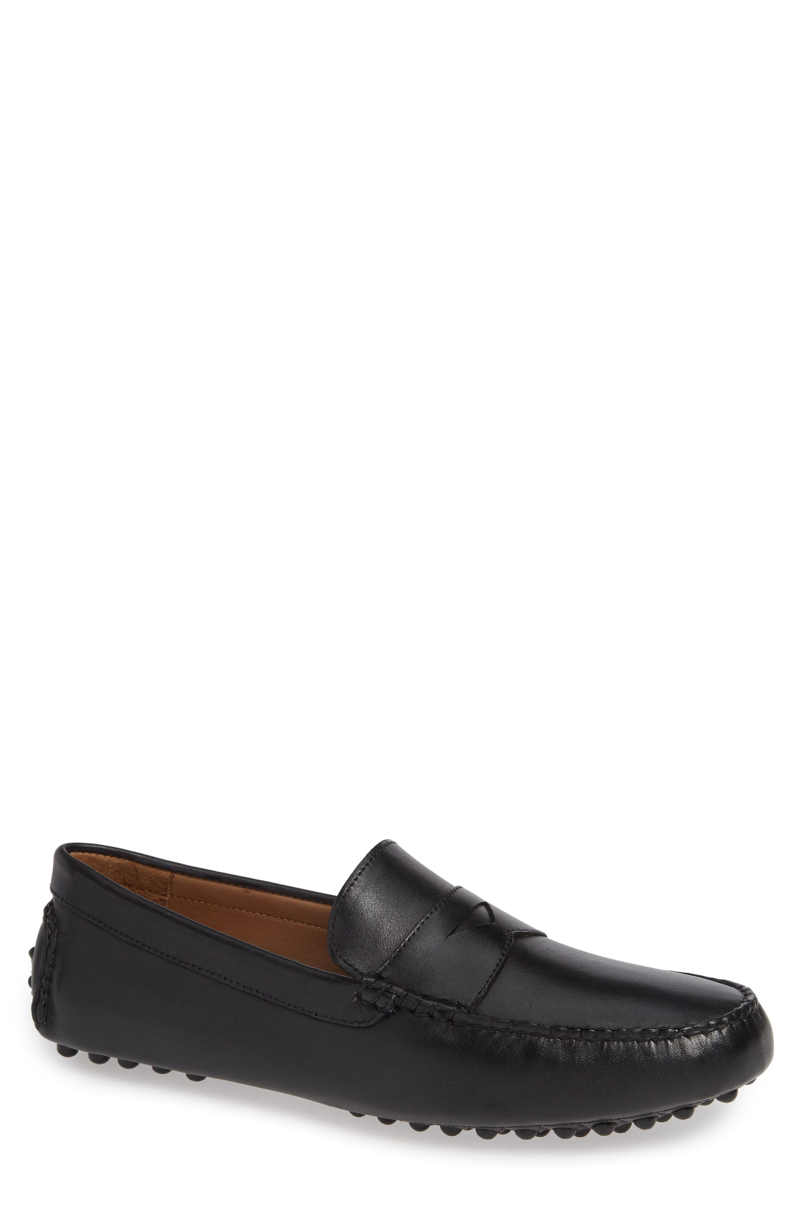Patrick Driving Moccasin, Main, color, BLACK LEATHER