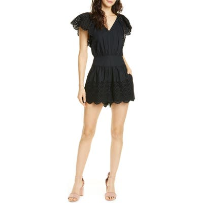 La Vie Rebecca Taylor Eyelet Detail Cotton Romper, Black