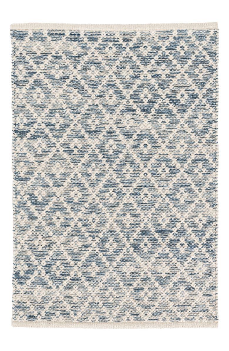 DASH & ALBERT Melange Diamond Woven Rug, Main, color, BLUE