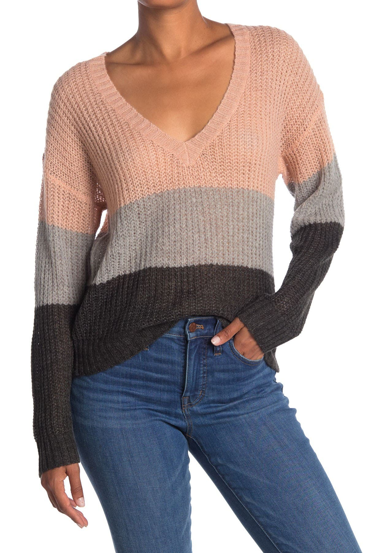 Image of WILDFOX Felicity Stripe V-Neck Sweater
