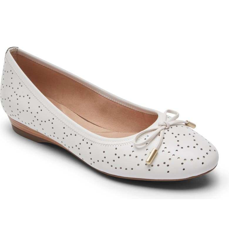 ROCKPORT Shea Perforated Tie Flat, Main, color, WHITE LEATHER