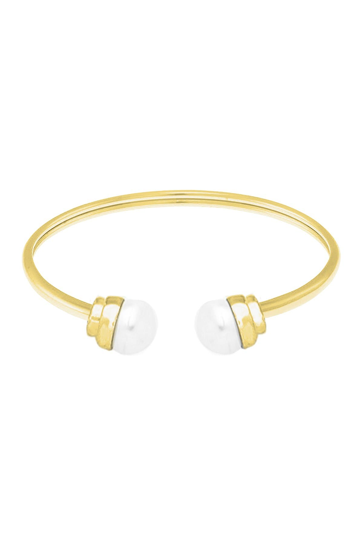 Image of Savvy Cie Cultured Freshwater 10mm Pearl Open Bangle Bracelet