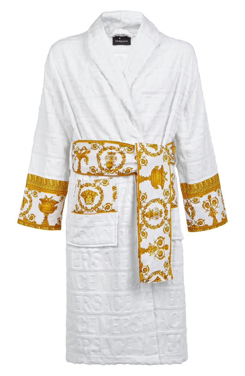 VERSACE Barocco Terry Robe, Main, color, WHITE