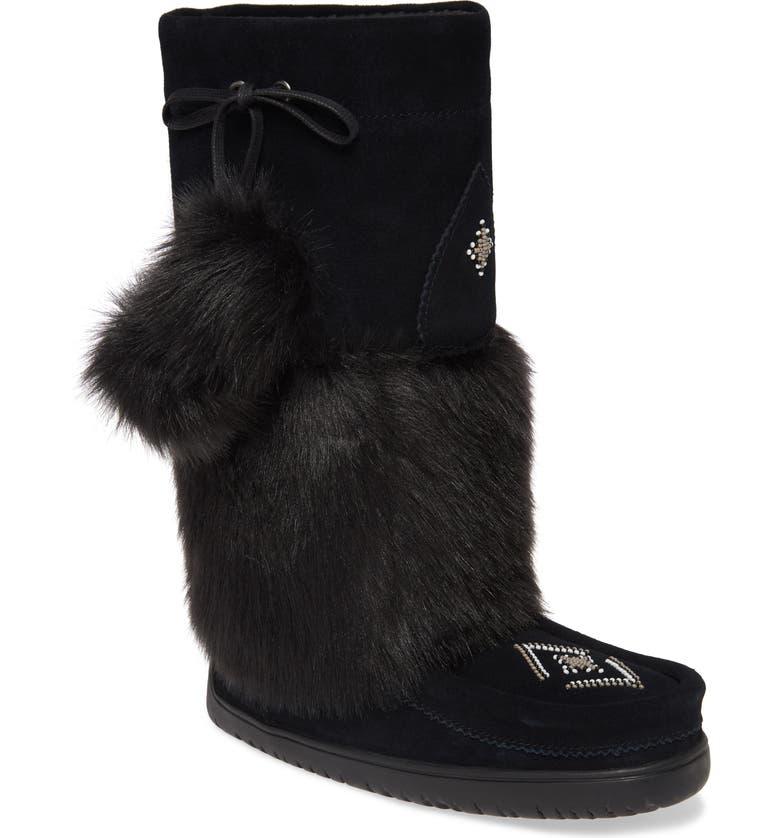 MANITOBAH MUKLUKS Snowy Owl Faux Fur Waterproof Snow Boot, Main, color, BLACK SUEDE