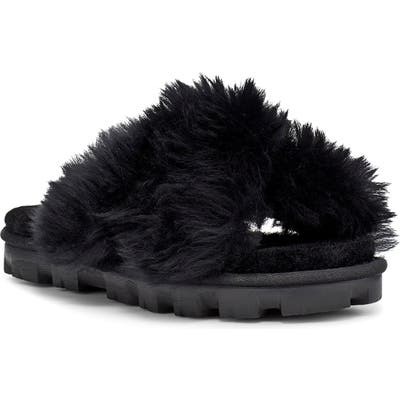 UGG Fuzzalicious Genuine Shearling Slipper, Black