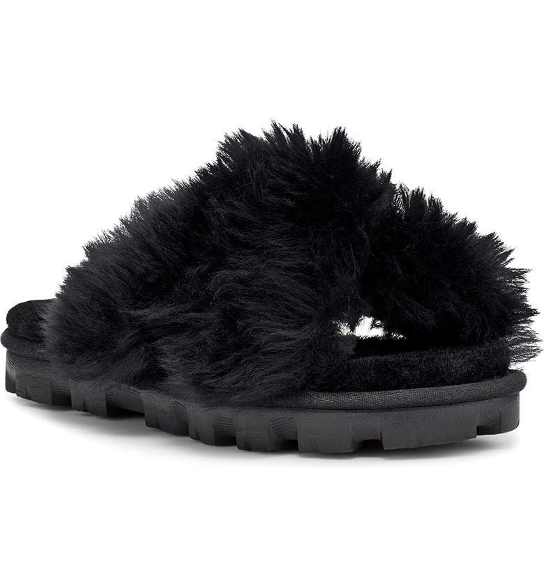 UGG<SUP>®</SUP> Fuzzalicious Genuine Shearling Slipper, Main, color, 001