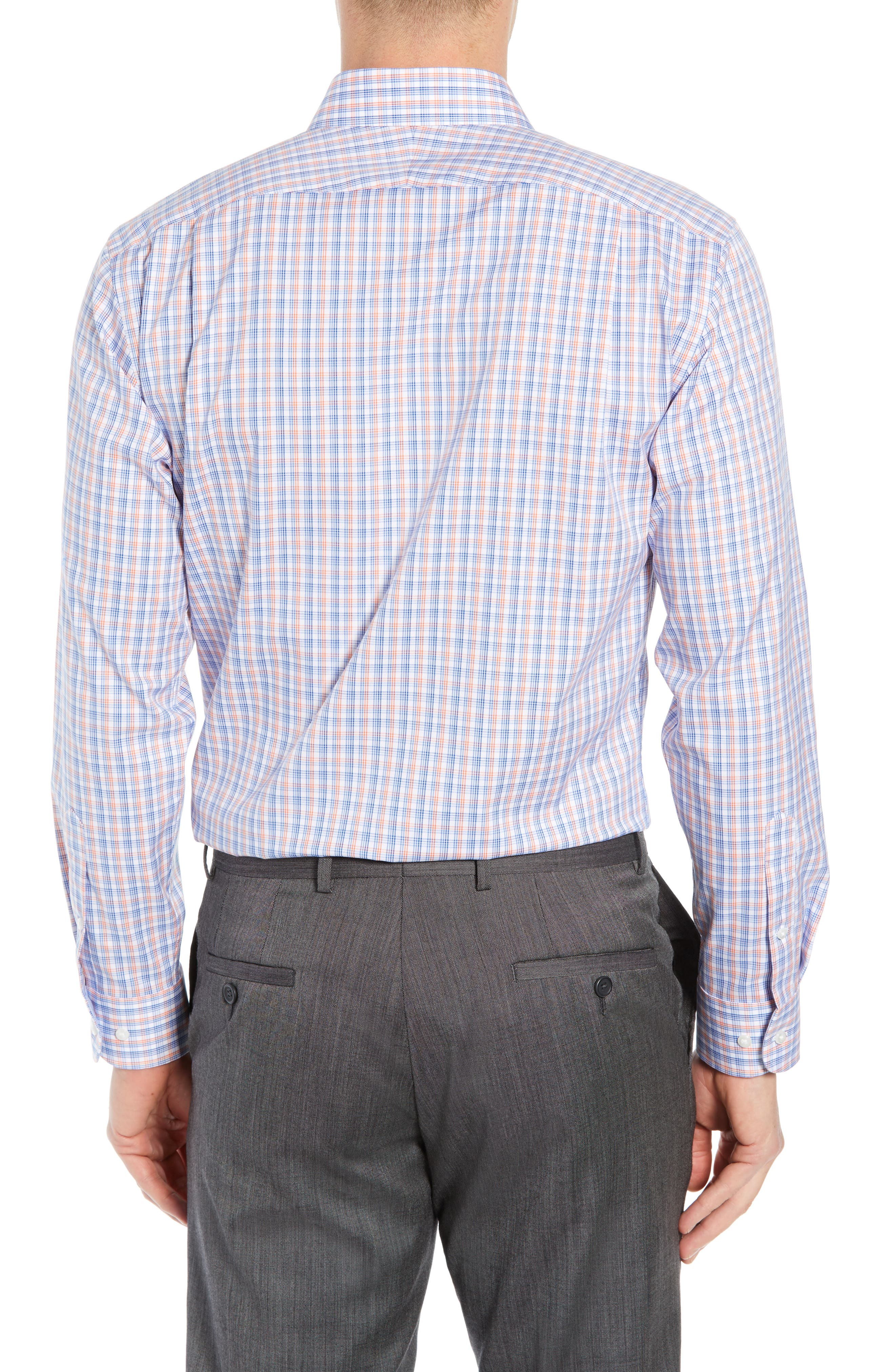 ,                             Trim Fit Non-Iron Plaid Dress Shirt,                             Alternate thumbnail 3, color,                             CORAL REEF