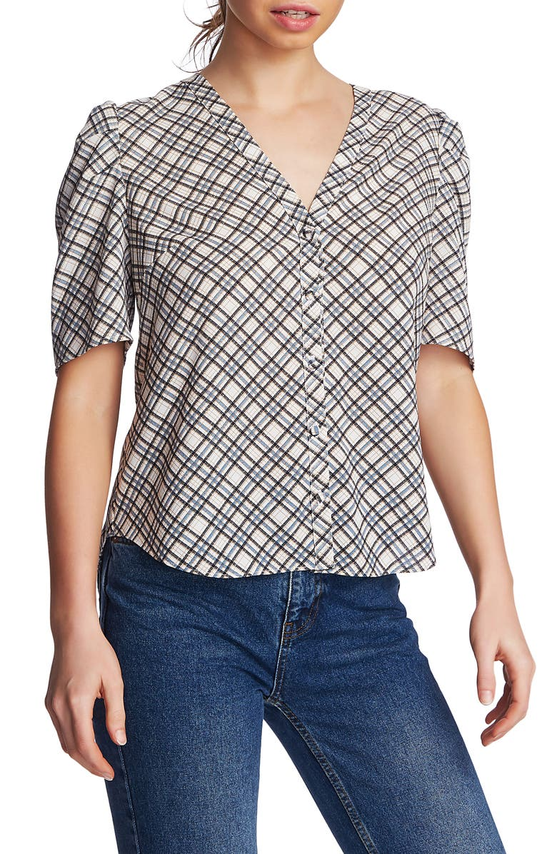 Diagonal Path Puff Sleeve Top by 1.State