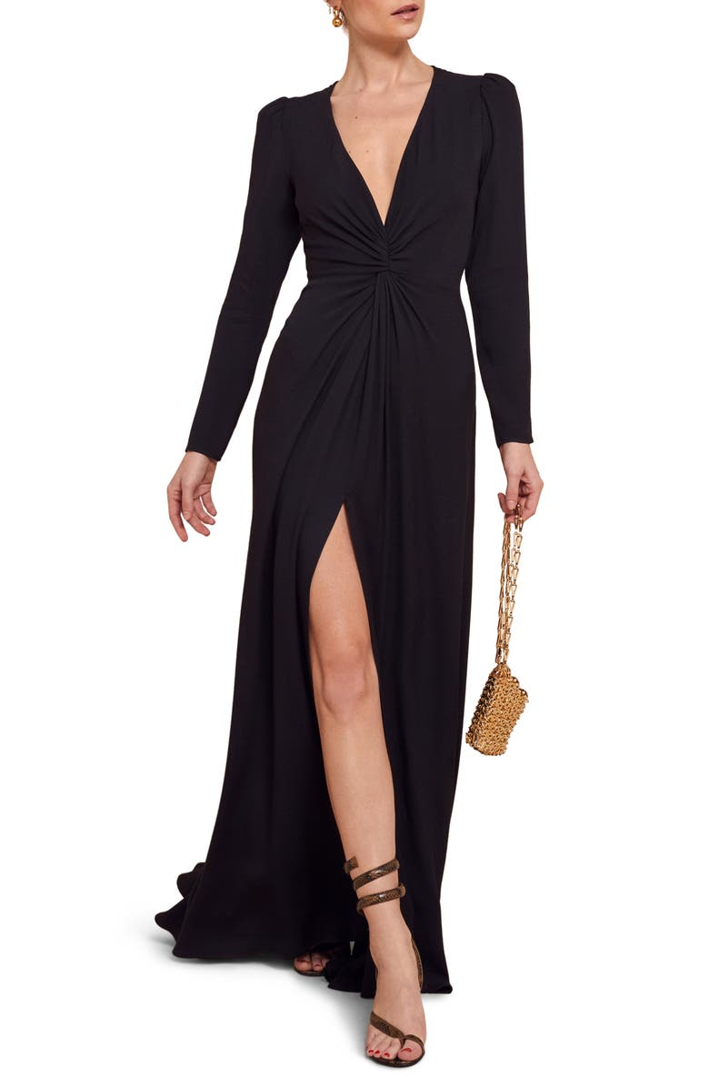 REFORMATION Gatsby Front Slit Long Sleeve Maxi Dress, Main, color, 001