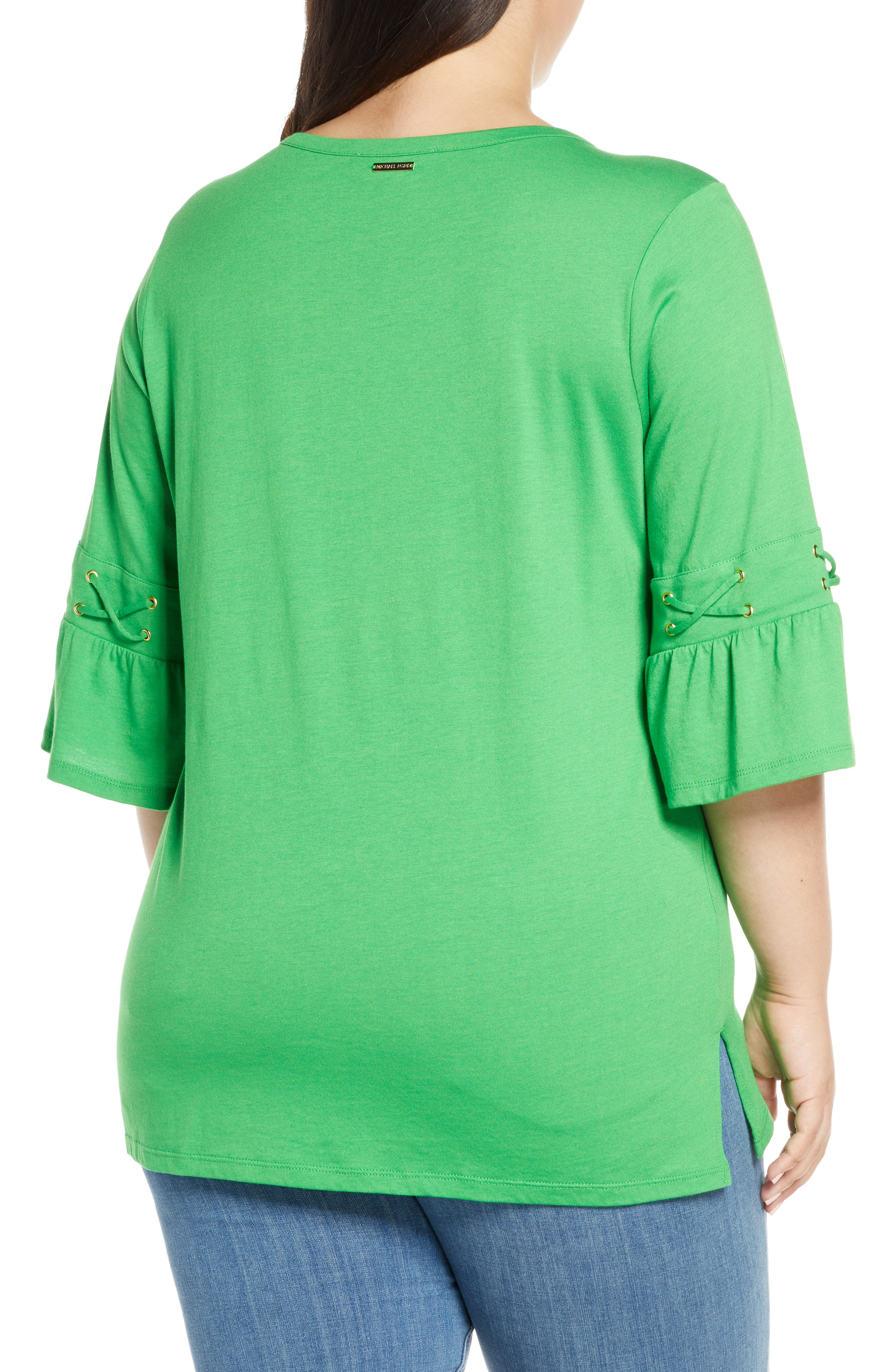 ,                             Lace-Up Sleeve Tee,                             Alternate thumbnail 2, color,                             CLOVER