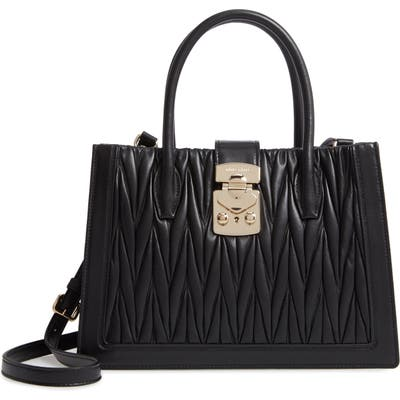 Miu Miu Confidential Matelasse Quilted Lambskin Leather Satchel - Black