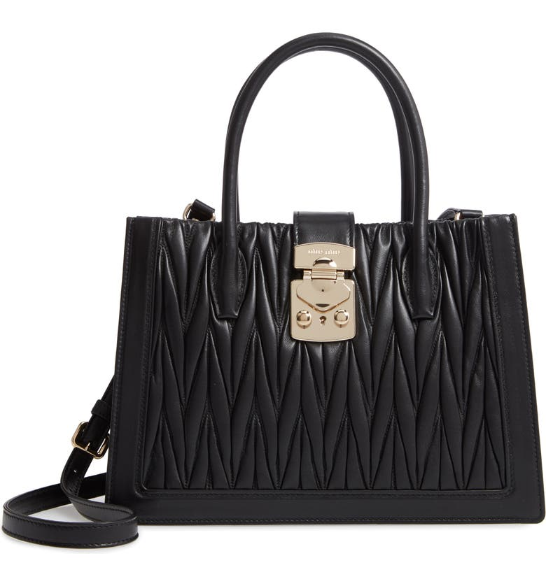 MIU MIU Confidential Matelassé Quilted Lambskin Leather Satchel, Main, color, 001