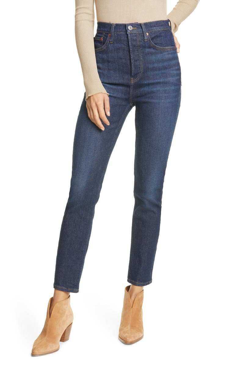 RE/DONE Originals Power Stretch High Waist Ankle Skinny Jeans, Main, color, WORN HERITAGE