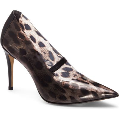 Vince Camuto Anessta Leopard Print Clear Pointy Toe Pump, Black