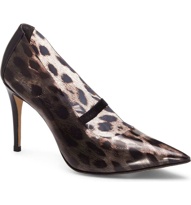VINCE CAMUTO Anessta Leopard Print Clear Pointy Toe Pump, Main, color, BLACK