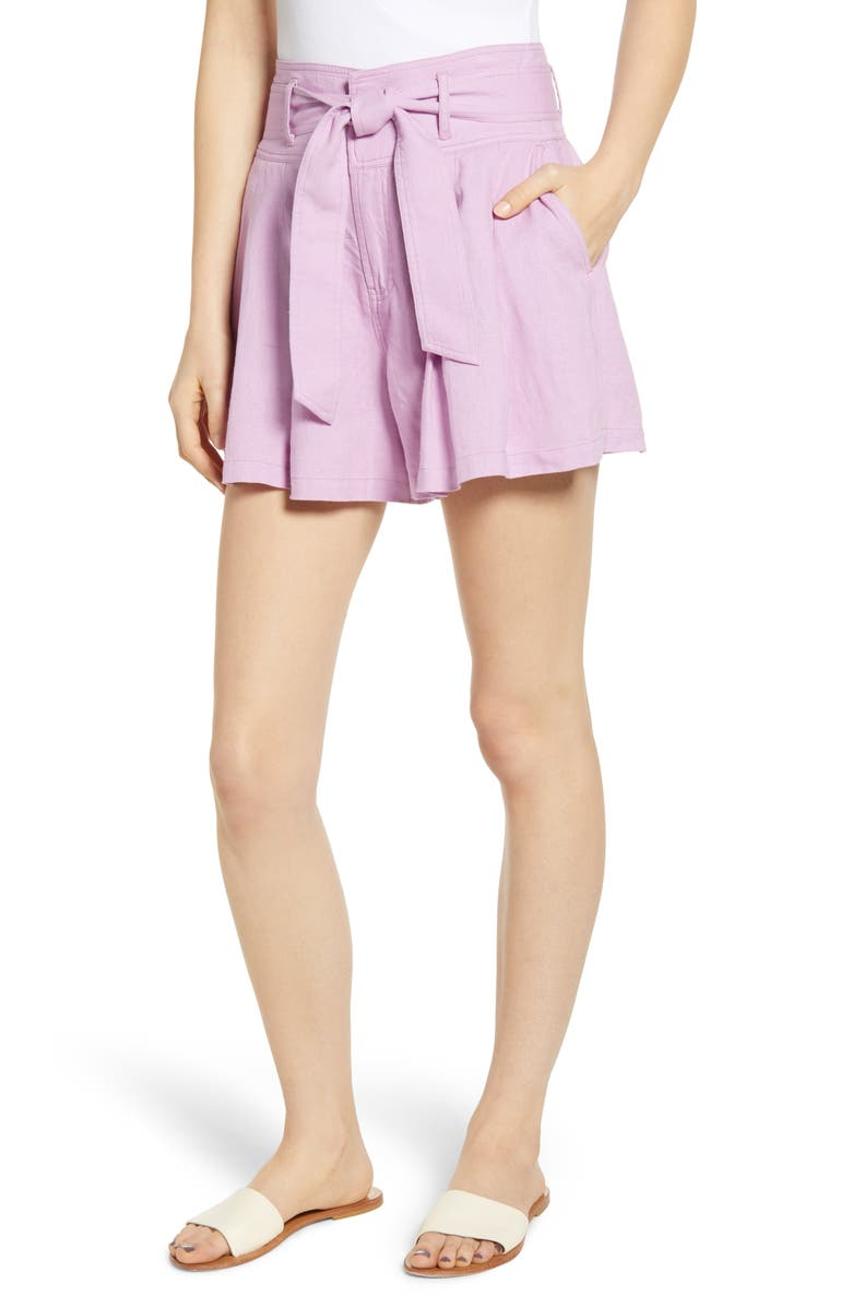 BP. High Waist Linen Blend Shorts, Main, color, PINK BOUQUET