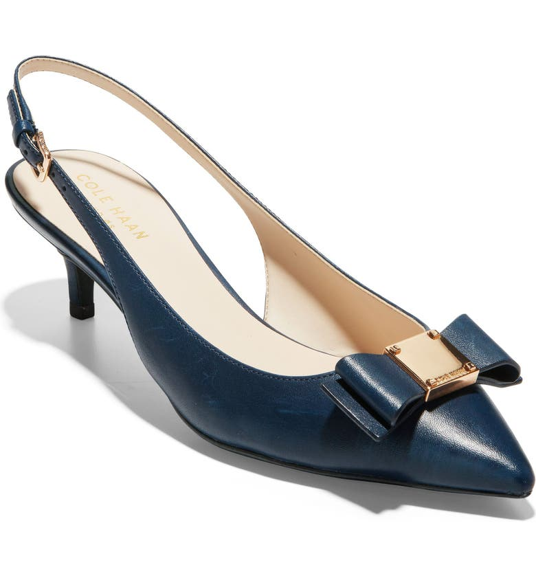COLE HAAN Tali Bow Slingback Pump, Main, color, MARINE BLUE LEATHER