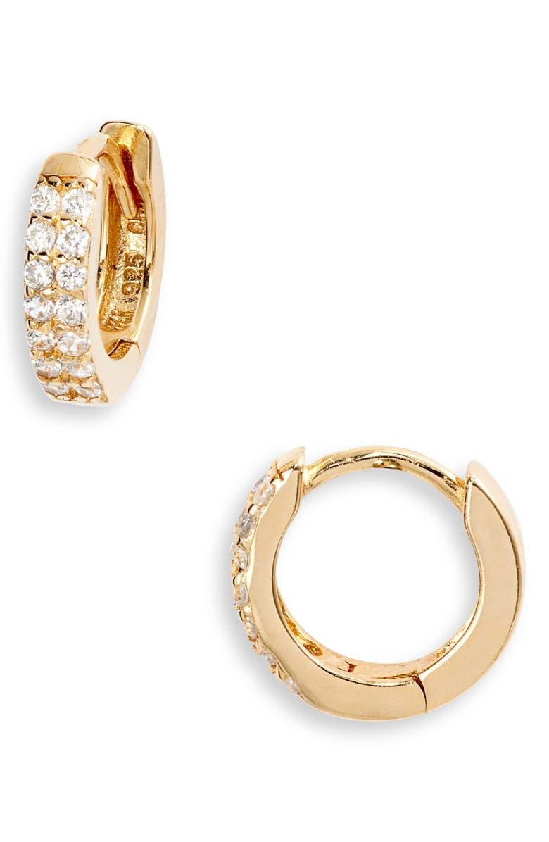 ADINA'S JEWELS Adina's Jewels Double Row Pavé Huggie Earrings, Main, color, GOLD