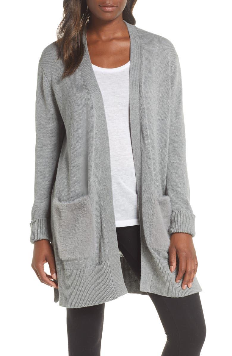 UGG<SUP>®</SUP> Lauren Open Front Faux Fur Pocket Cardigan, Main, color, GREY HEATHER