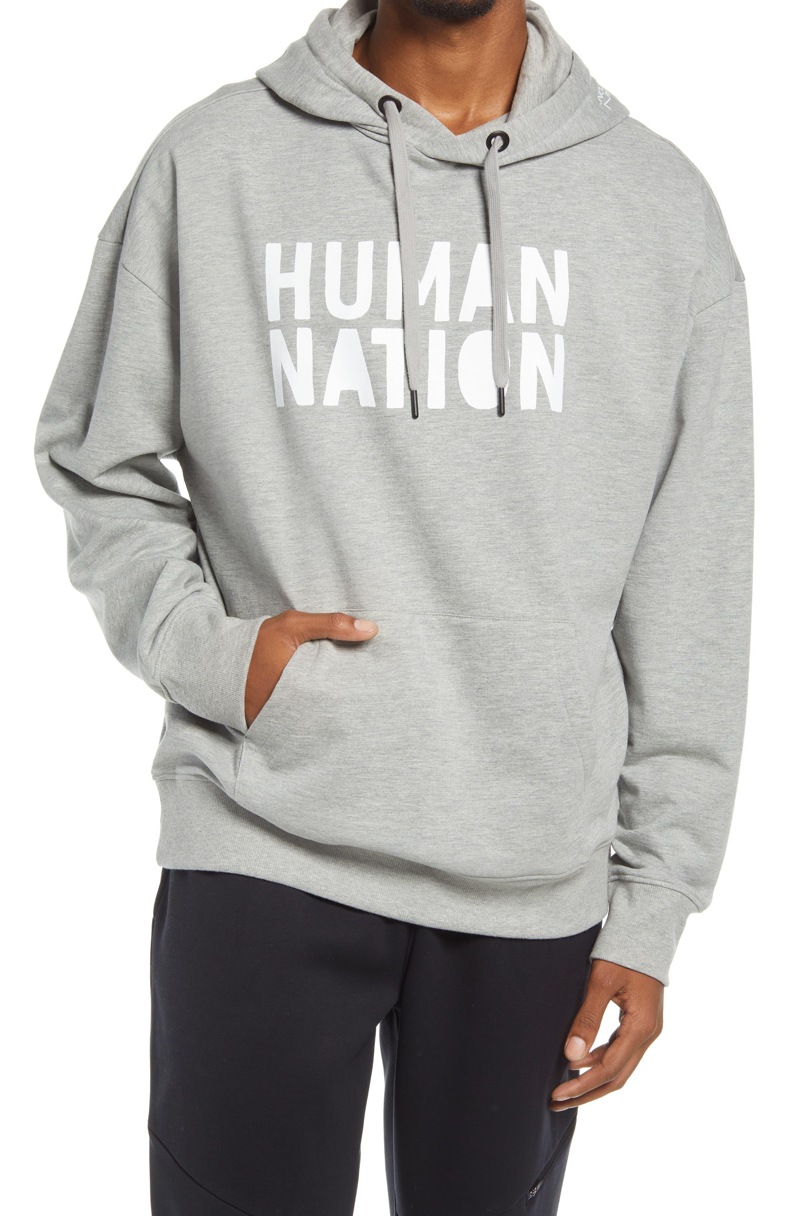 HUMAN NATION Gender Inclusive Organic Cotton Blend Logo Hoodie
