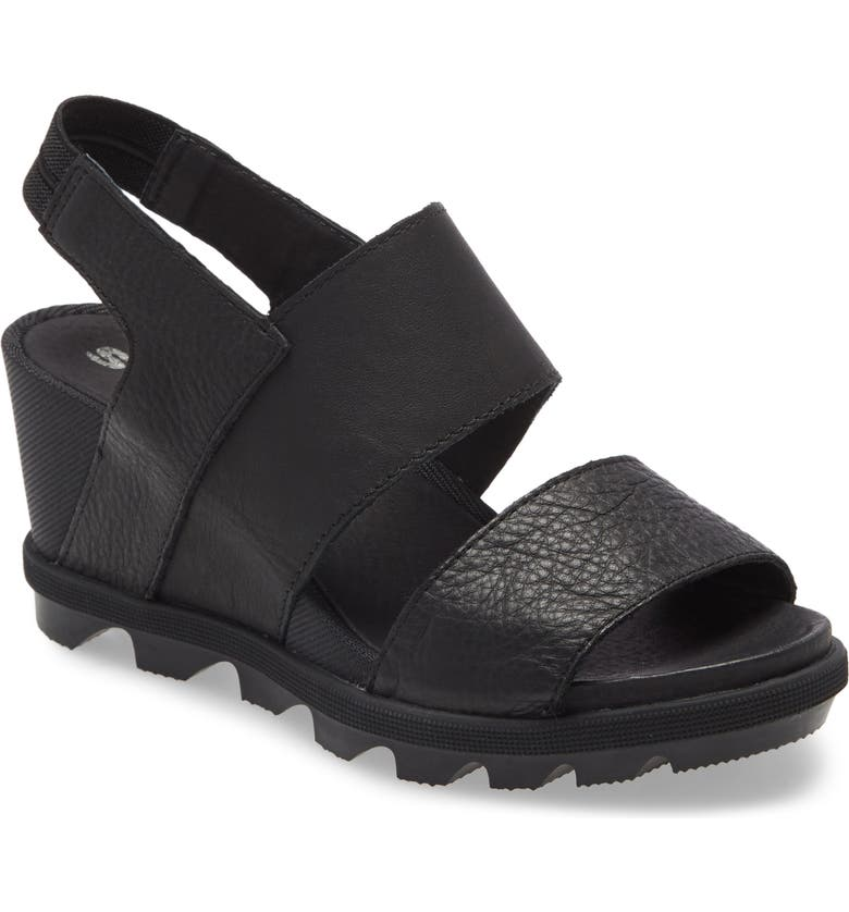 SOREL Joanie II Slingback Wedge Sandal, Main, color, BLACK LEATHER
