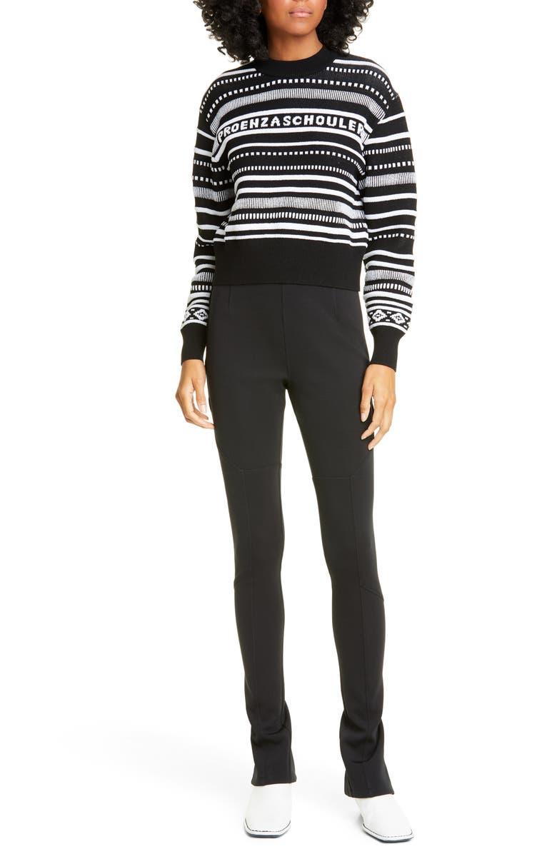 PROENZA SCHOULER WHITE LABEL Proenza Schouler PSWL Stripe Crop Sweater, Main, color, BLACK WHITE