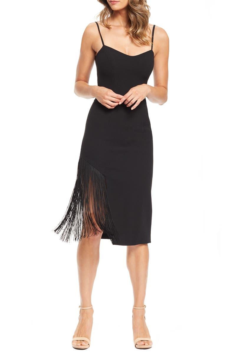 DRESS THE POPULATION Rory Midi Dress, Main, color, BLACK