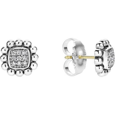 Lagos Caviar Spark Diamond Square Stud Earrings