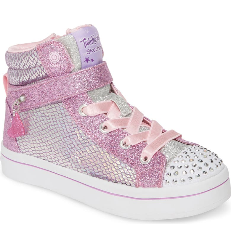 SKECHERS Twinkle Toes Twi-Lites Holla Glam Light-Up High Top Sneaker, Main, color, 503