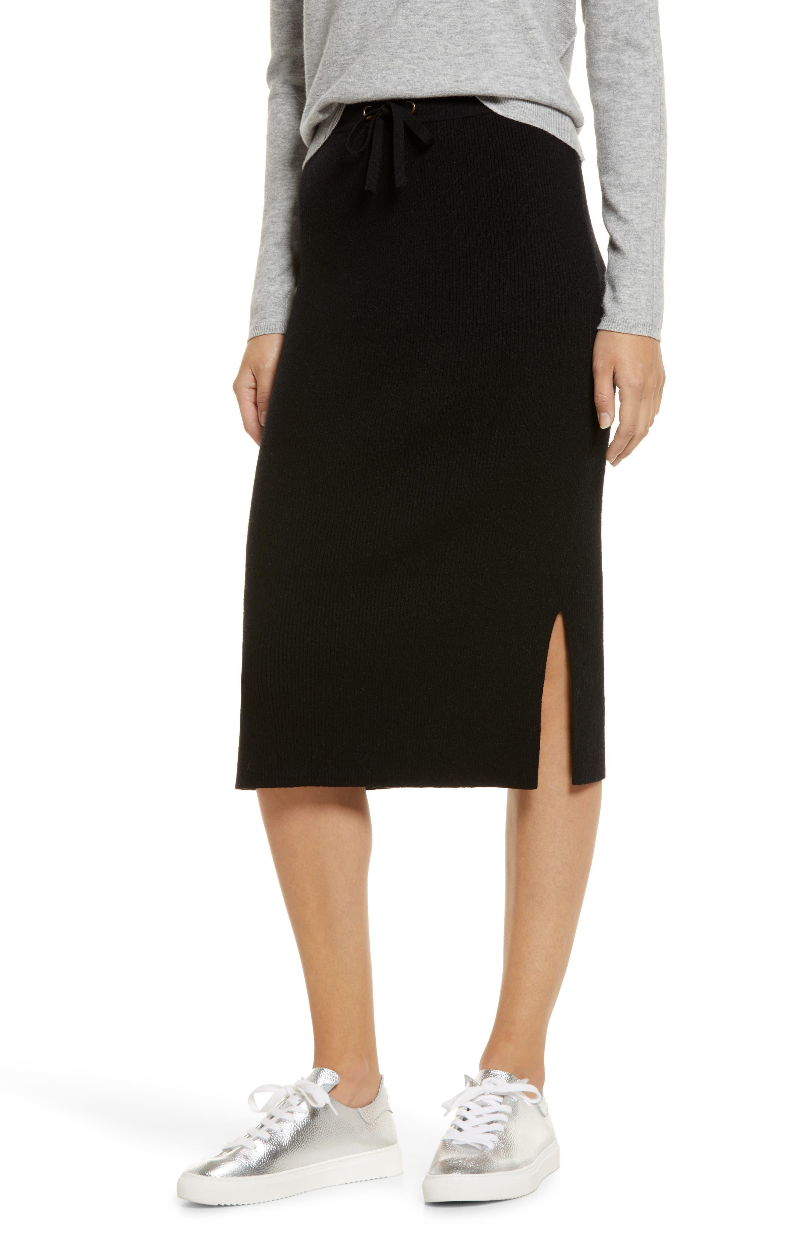 Women's Caslon Ribbed Sweater Midi Skirt