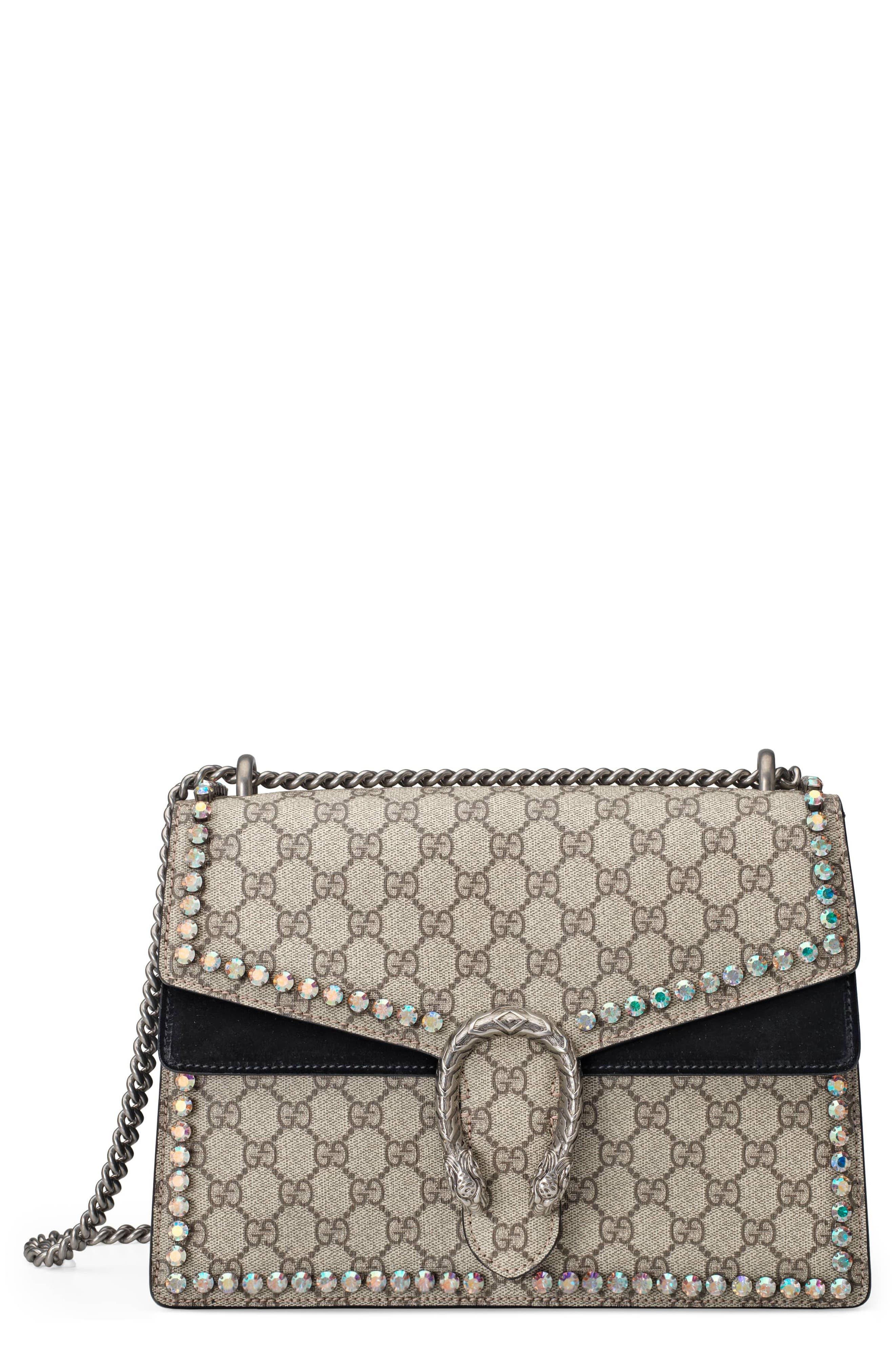 ,                             Medium Dionysus Crystal Embellished GG Supreme Canvas & Suede Shoulder Bag,                             Main thumbnail 1, color,                             276