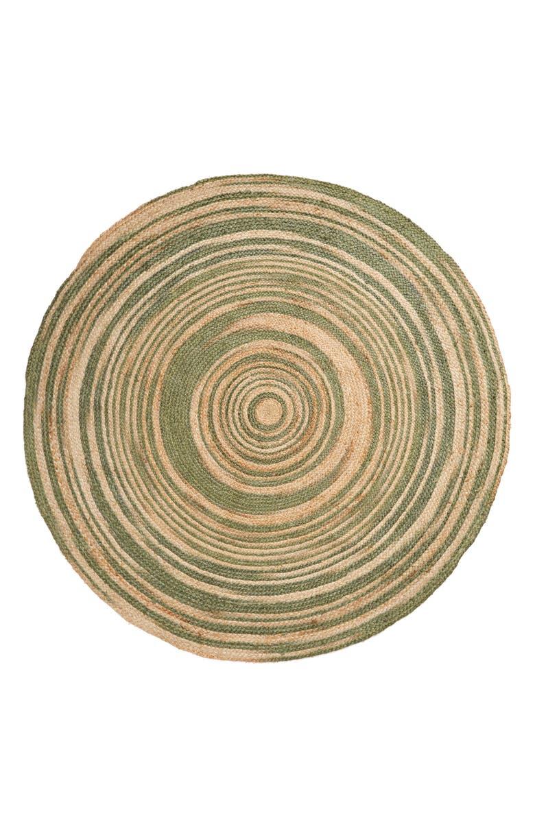 TREASURE & BOND Round Jute Rug, Main, color, GREEN SORREL