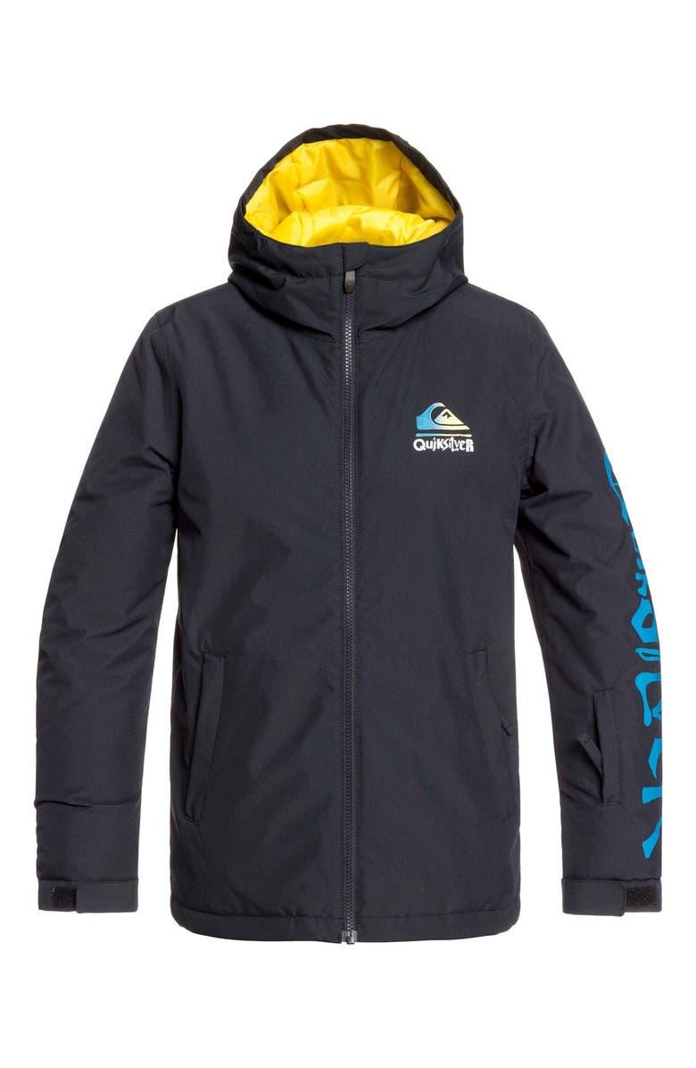 QUIKSILVER In The Hood Waterproof Hooded Jacket, Main, color, BLACK