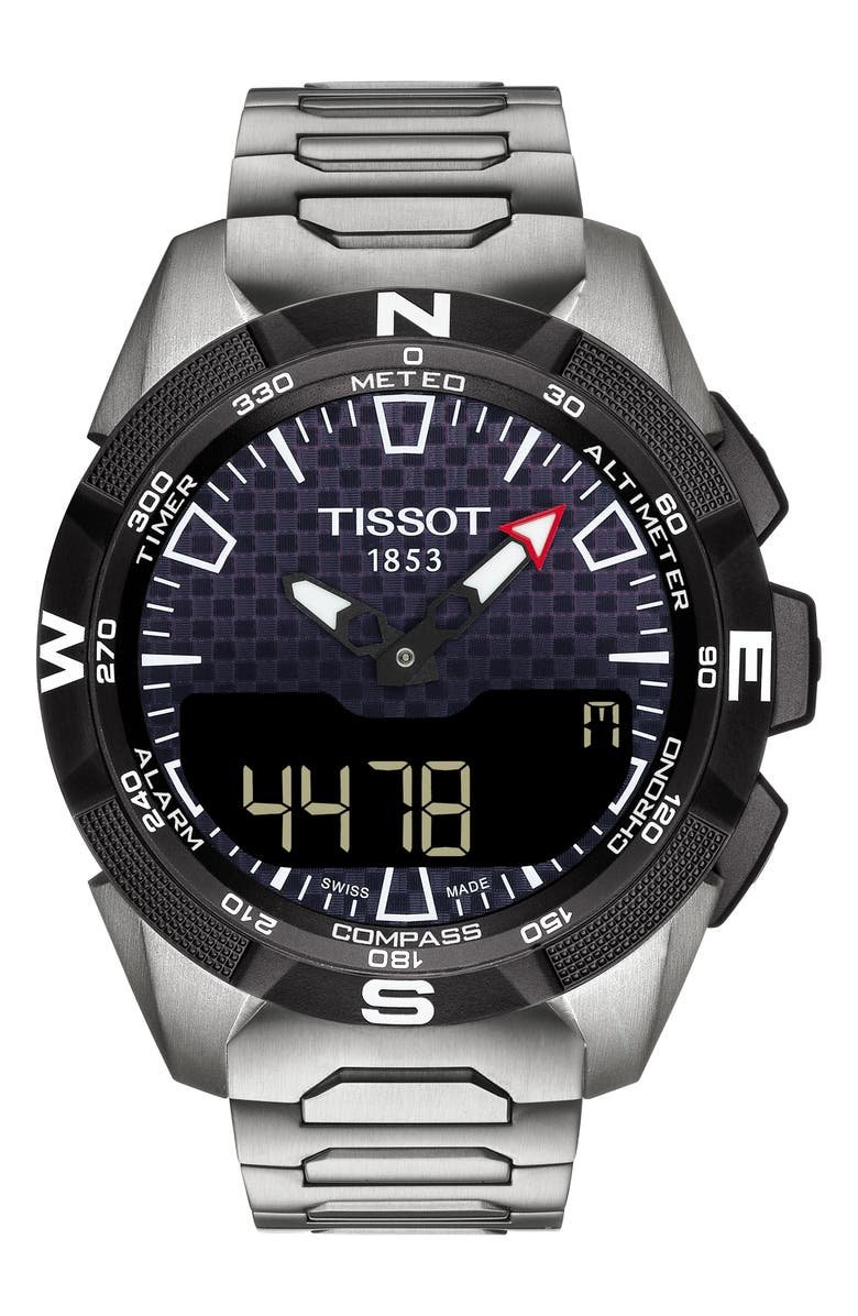 TISSOT T-Touch Expert Solar II Multifunction Bracelet Watch, 45mm, Main, color, SILVER/ BLACK/ SILVER