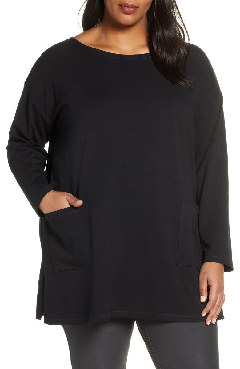 EILEEN FISHER Bateau Neck Pocket Tunic, Main, color, 001