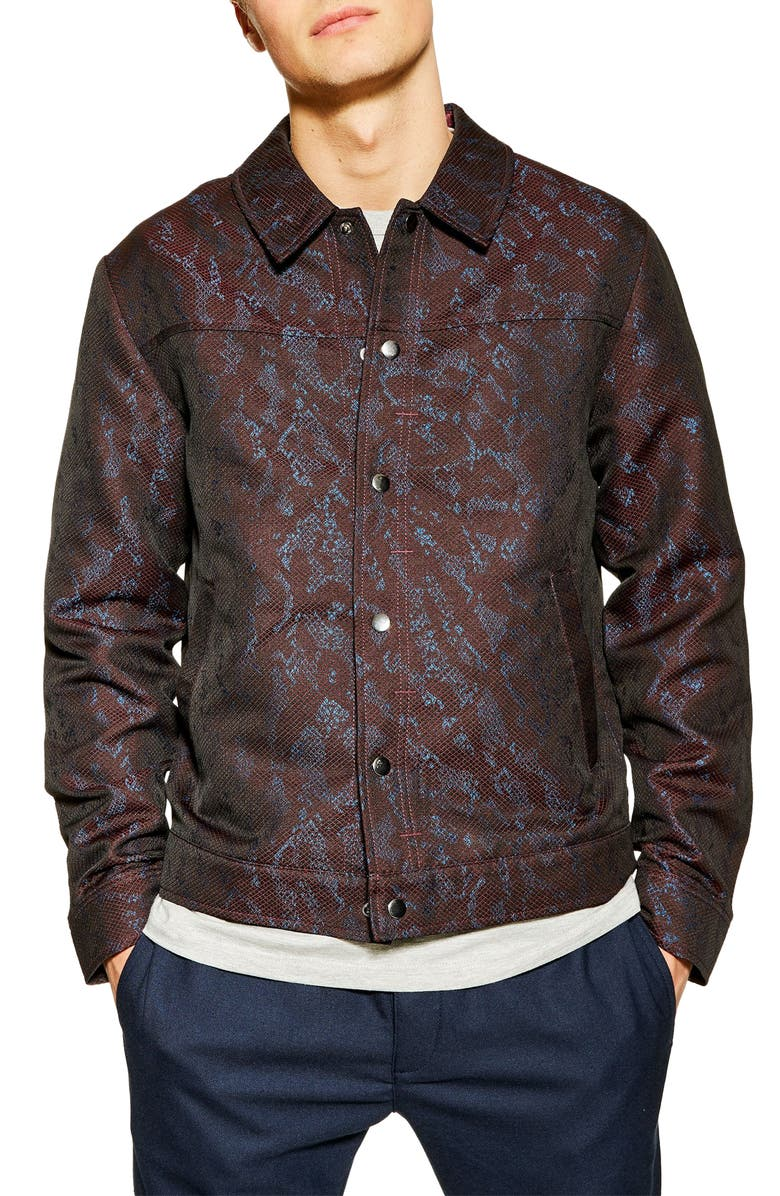 TOPMAN Jacquard Western Jacket, Main, color, BURGUNDY MULTI