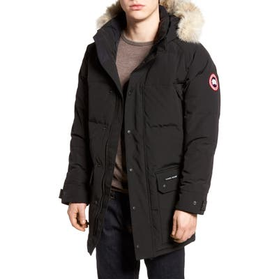 Canada Goose Emory Slim Fit Genuine Coyote Fur Trim Parka, Black