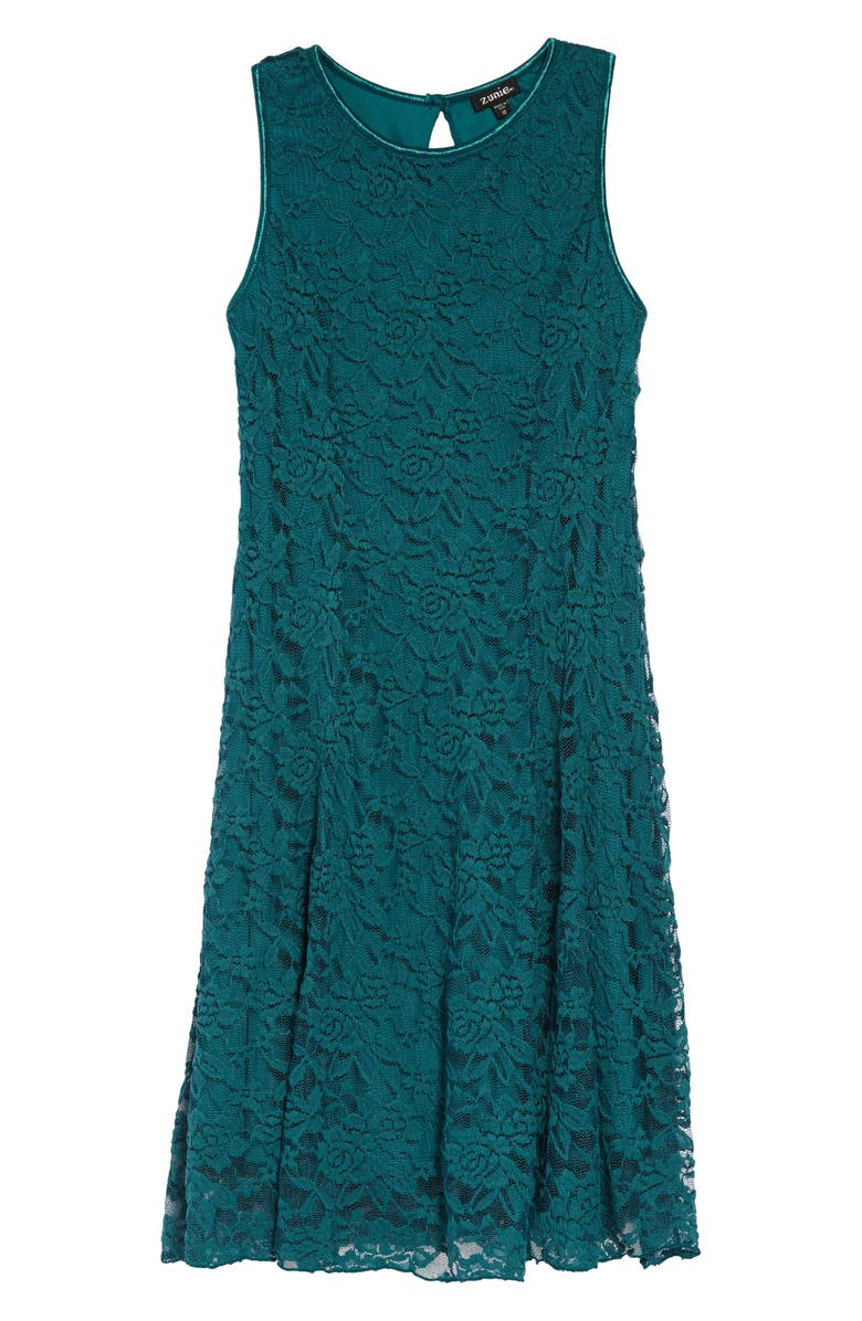 ZUNIE Lace Skater Dress, Main, color, TEAL