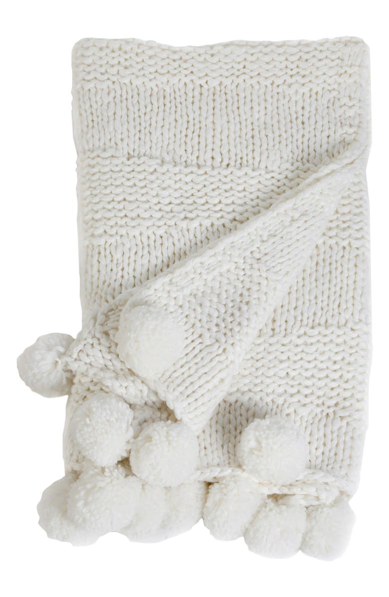 POM POM AT HOME Oulu Throw Blanket, Main, color, WINTER WHITE