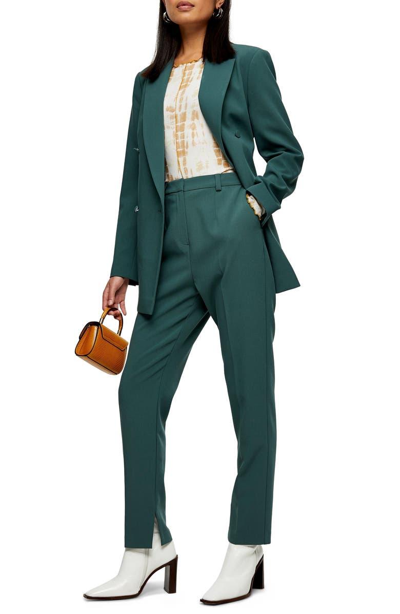 TOPSHOP Split Cigarette Trousers, Main, color, SEA GREEN
