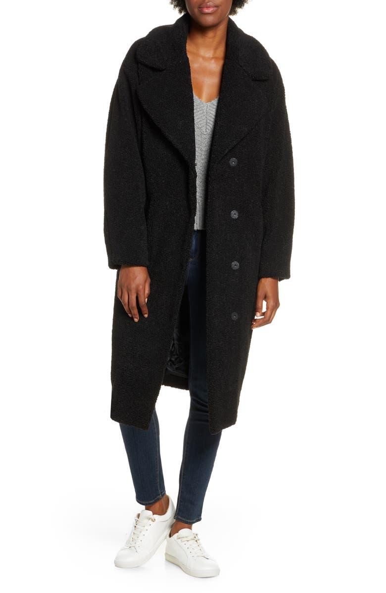 UGG<SUP>®</SUP> Charlisse Teddy Bear Faux Fur Coat, Main, color, BLACK