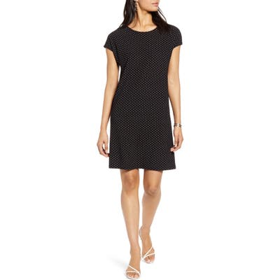 Petite Halogen Cap Sleeve Jersey Shift Dress, Black