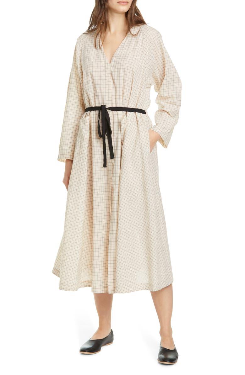 SARA LANZI Belted Long Sleeve Midi Dress, Main, color, BEIGE CHECK