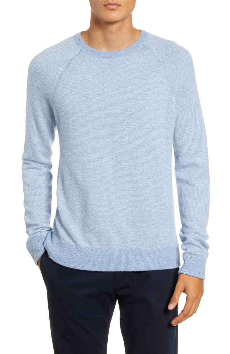 VINCE Birdseye Crewneck Wool & Cashmere Sweater, Main, color, H INFINITY/ PEARL