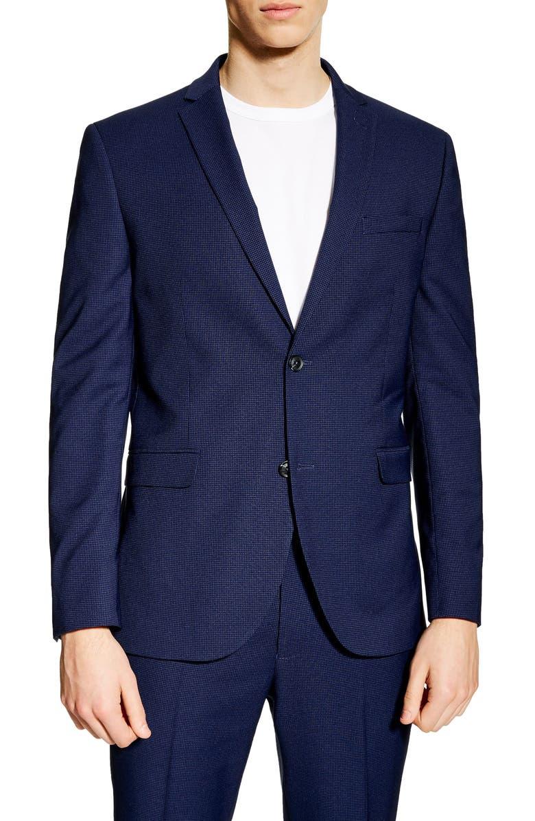TOPMAN Jude Skinny Fit Blazer, Main, color, BLUE